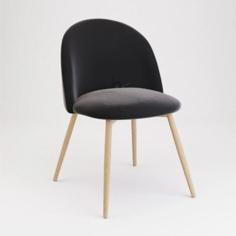 Pudsey Velvet Dining Chair - Set of 2 With Wooden Legs, Black