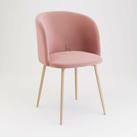 Andover Rose Velvet Dining Chair With Wooden Legs - Set of 2