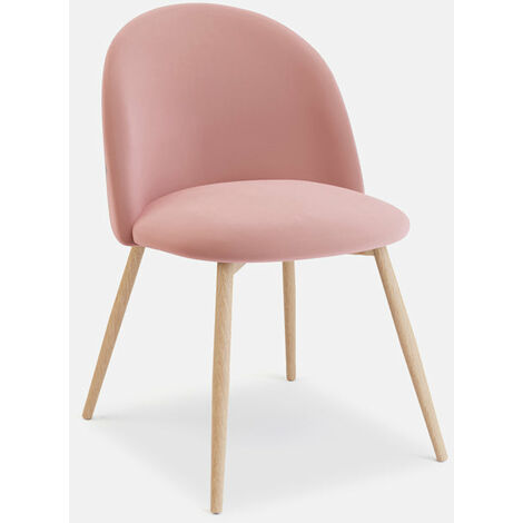 Pudsey Velvet Dining Chair - Set of 2 With Wooden Legs, Rose