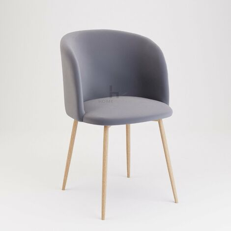 Andover Grey Velvet Dining Chair With Wooden Legs - Set of 2