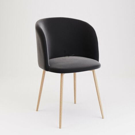 Andover Black Velvet Dining Chair With Wooden Legs - Set of 2