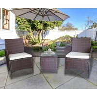 Garden Armchair Rattan Set with Side Table - Brown