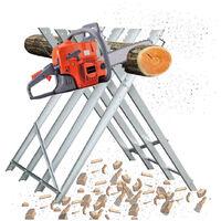 Soporte de corte de madera, soporte galvanizado plegable para aserrar madera - 4 filas, carga máxima 100 kg - Roble