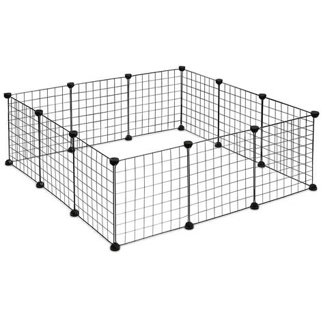 Multifunctional indoor pet fence, DIY portable reusable metal fence cats rabbits dogs - Black