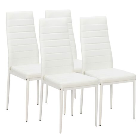 4 piece modern dining chair indoor lounge chair faux leatherr high back chair office living room White -  White