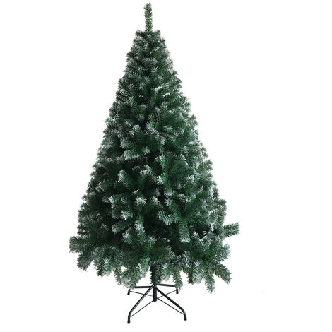 6ft Christmas Tree, Foldable Artificial 650 Branches Large Encrypted Christmas Tree with Metal Bracket Green - Green