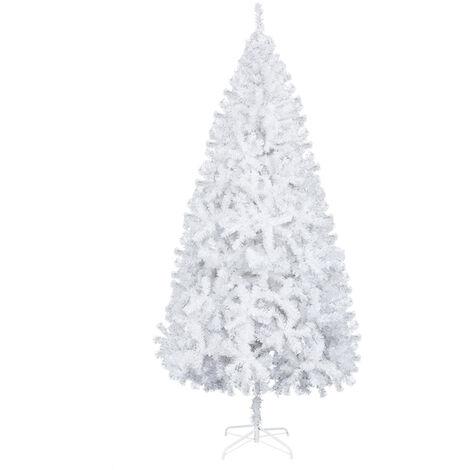 7ft Christmas Tree Artificial Fir Leaf, 950 PVC Branch Metal Bracket Christmas Decoration White - White