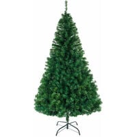 8ft Christmas Tree, Large Encrypted Luxury PVC Interior Decoration Tree Foldable with Metal Bracket Green - Green