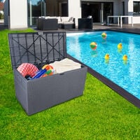 Garden storage box outdoor garden plastic waterproof rectangular storage deck box Gray - Gray