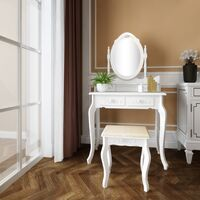 Dressing table set, bedroom jewelry storage wooden dressing table 4 drawers oval mirror makeup table set White - White