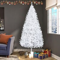 7ft Christmas Tree, Home Luxury Encrypted Artificial PVC Large Christmas Decoration Tree Party Office White - White