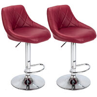 2 pcs modern leather bar stool with backrest adjustable height rotating bar stool home kitchen bar stool Wine Red -  Red
