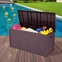 Courtyard storage box rectangular waterproof plastic storage box outdoor garden balcony Brown - Brown