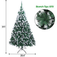 7ft Christmas Tree Snow Spray Flocking Christmas Tree Artificial PVC Tree 870 Branch Metal Bracket Base White - White