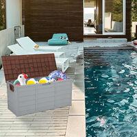 Garden storage box rectangular waterproof plastic storage box swimming pool balcony with two wheel Brown - Brown