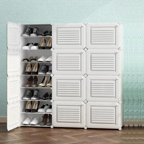 Armoire à Chaussures Meuble à Chaussures Etagère avec 12 Portes Plastique Facile à Monter Blanc, Etagère de Rangement Pratique