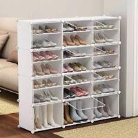 Armoire à Chaussures Meuble à Chaussures Etagère Avec Portes Plastique Blanc Facile à Monter, Etagère de Rangement Pratique