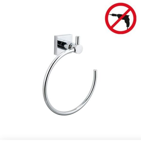 Tesa Hukk Towel ring, chrome-plated metal, easy installation without drilling (40254-00000-00)
