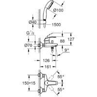 "Grohe Eurosmart 1/2"" single lever bath/shower mixer (3330220A)"
