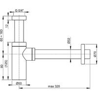 Alca Design sink siphon 100% chromed metal (A400)