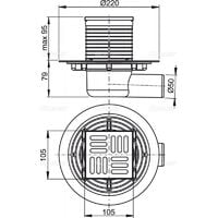 Alca Floor drain 105×105 mm with Ø50 mm side outlet (APV101)