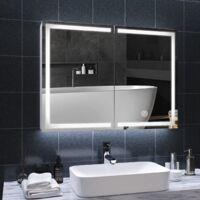 DICTAC Miroir de salle de bain avec éclairage LED et prise 80 x 13,5 x 60 cm Miroir de salle de bain en métal avec 3 températures de couleur à intensité variable avec interrupteur tactile et miroir