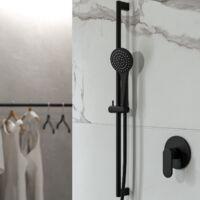 Barre de douche murale ronde pour douche couleur noir mat Ponsi BNASTKAS42 | Noir mat