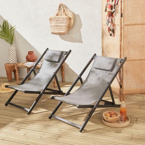 Juego de 2 sillas para tomar sol - Gaia antracita- Aluminio antracita y textileno gris con reposacabezas. - Gris