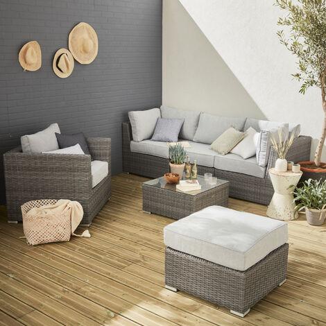 Muebles de jardín de resina trenzada redonda - VINCI - 5 asientos, ajustable, ultra cómodo, de alta gama - Gris