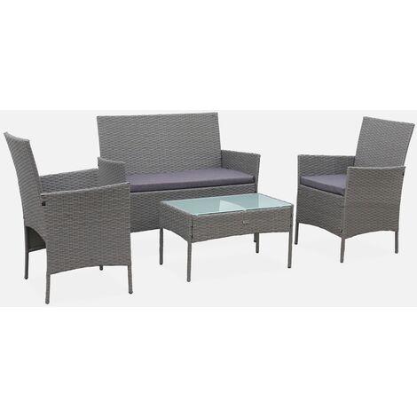 Muebles de jardín Moltes en mimbre gris y cojines grises - 1 sofá, 2 sillones, 4 asientos - Gris