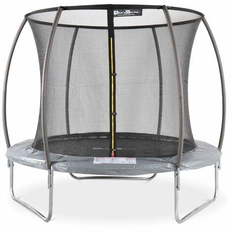 Cama elástica redonda 250 cm gris con red de seguridad interna - Plutón INNER - Gris