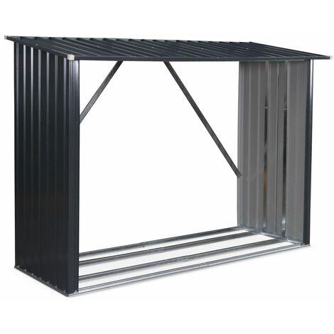 Caseta para leña en metal gris antracita - antracita