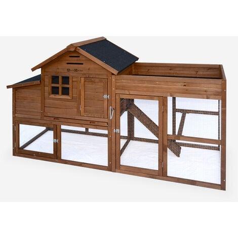 Gallinero de madera con huerto CAMPINO, 4 gallinas, caseta para gallinas con recinto - Madera