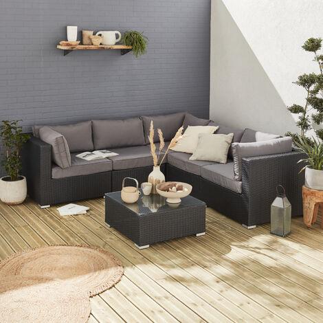 Muebles de jardin, conjunto sofa de exterior, Negro Gris, 5 plazas, ratan sintetico, resina trenzada - NAPOLI - Negro