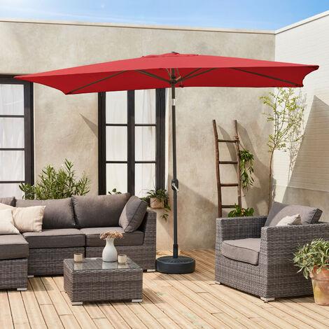 Sombrilla jardin, parasol rojo, mástil central, inclinable, rectangular, 2x3m, Touquet - Rojo