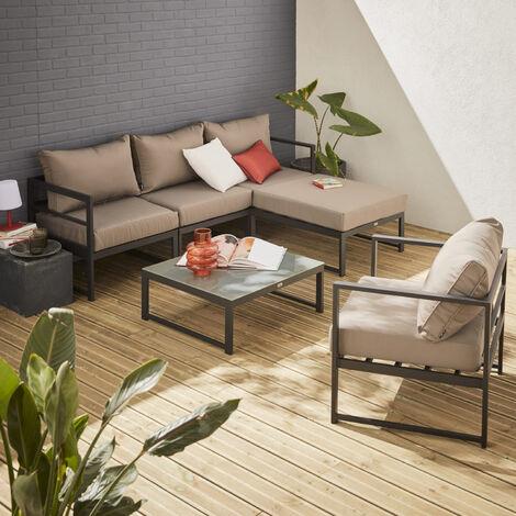 Conjunto de jardín, módulos de aluminio, 5 plazas, Marrón, Acatium - Anthracite