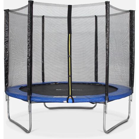 Cama elástica 245 cm, Trampolín para niños azul, aguanta hasta 100 kg (estructura reforzada). Incluye: red de protección- PLUTON - Azul