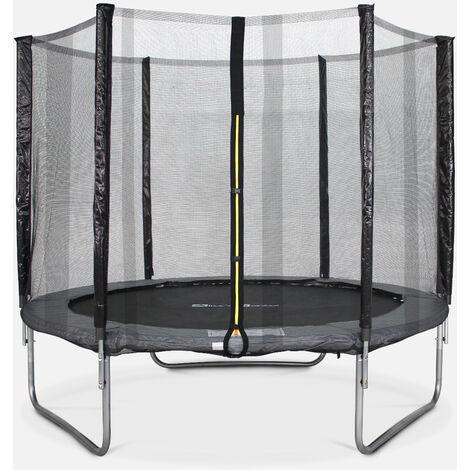Cama elástica 245 cm, Trampolín para niños gris, aguanta hasta 100 kg (estructura reforzada). Incluye: red de protección PLUTON - Gris
