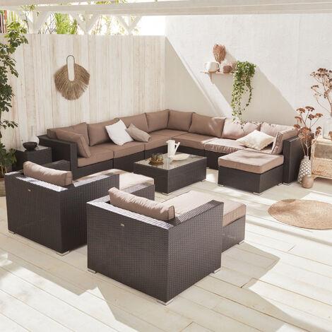 Mueble de jardín, conjunto sofá de exterior, ratan sintético, resina trenzado - Marrón / marrón, cojines marrón claro - 13 plazas - TRIPOLI - Marrón