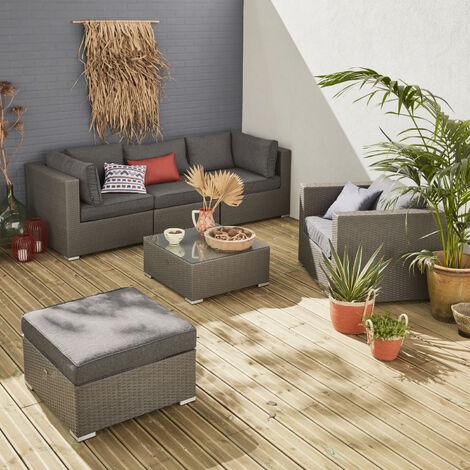 Sofa De Jardin, Muebles De Exterior, Ratán Sintético, 5 Plazas Reales (Sofa 2,34 m), Cómodo (Profundidad 82cm + Espesor Cojines 12cm) - Gris