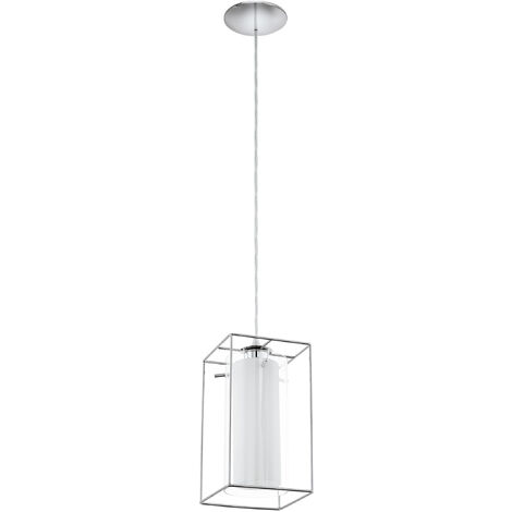 EGLO LONCINO 1 White satin glass caged pendant