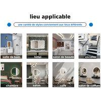 Acezanble 60cm miroir rond, miroir de salle de bain anti-buée, miroir LED vertical, interrupteur tactile