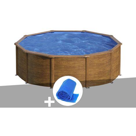 Kit piscine acier aspect bois Gré Sicilia ronde 3,20 x 1,22 m + Bâche à bulles