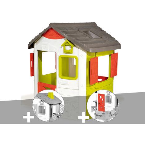 Cabane enfant Neo Jura Lodge - Smoby + Cheminée + Porte maison
