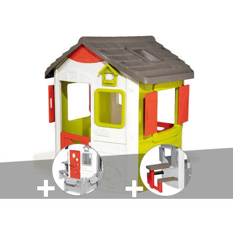 Cabane enfant Neo Jura Lodge - Smoby + Porte maison + Table pique-nique