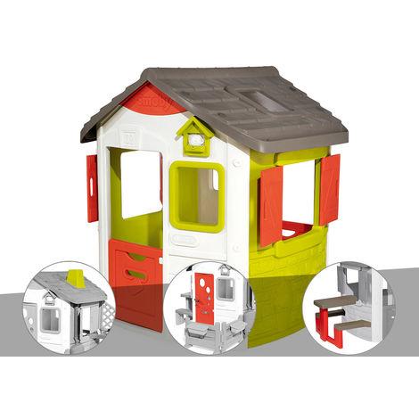 Cabane enfant Neo Jura Lodge - Smoby + Cheminée + Porte maison + Table pique-nique