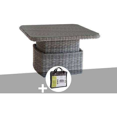 Table salon ajustable Moorea Marron avec housse de protection - Hespéride