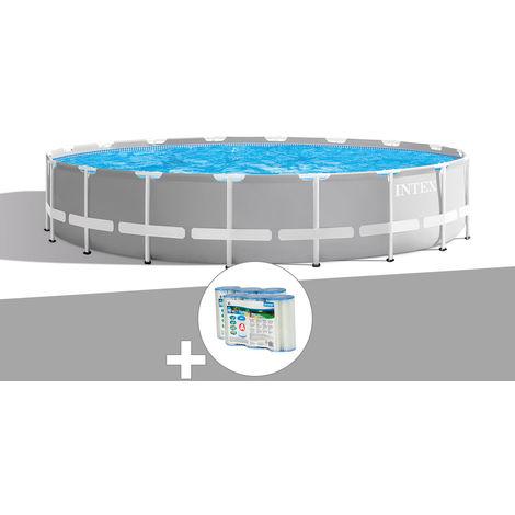 Kit piscine tubulaire Intex Prism Frame ronde 6,10 x 1,32 m + 6 cartouches de filtration