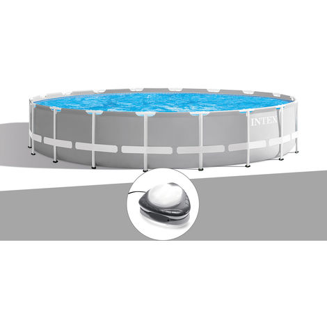 Kit piscine tubulaire Intex Prism Frame ronde 6,10 x 1,32 m + Spot