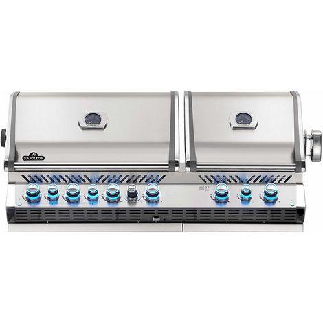 Barbecue gaz encastrable Napoleon Prestige Pro 825 inox 4 brûleurs + 2 Sizzle Zone + brûleur arrière + Fumage